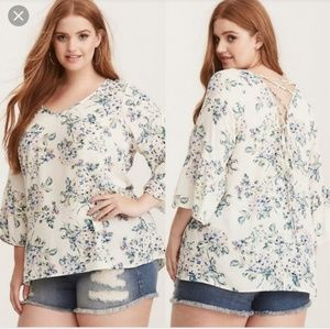 TORRID White and Floral Blouse